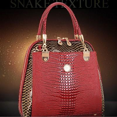 Women Shell Bag Patent Leather Bag female serpentine pattern Tote Shoulder Bags Luxury Handbags Crossbody Bags