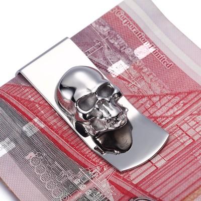 Modern - Brand New 2017 Skull Designs Men Sliver Money Clip Slim Pocket Purse Cash Holder Card Organizer Men Women Wallet