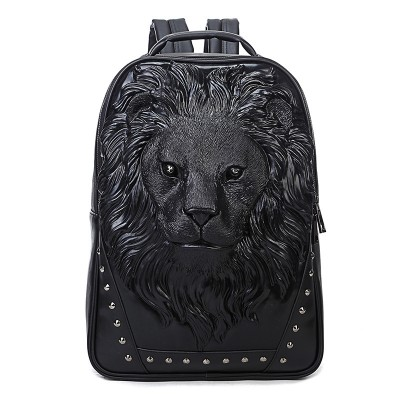 Gothic Backpacks Mens Fashion Trends Youth Character Travel Computer Bag European And American Rivet lion Head Bag Printing Backpack