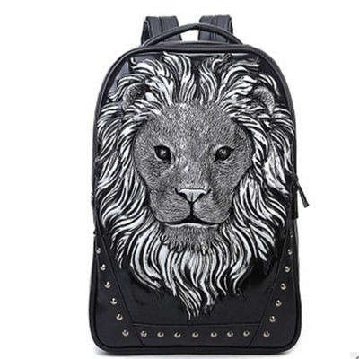 Gothic Backpacks Steelsir 2017 New Arrival Fashion Tide Men Personality Animal Print Backpack Gothic Motorcycle 3D Lion Prints Backpack