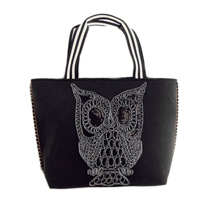 2017 Large Capacity Fashion Black Owl Top-Handle Bags Owls Single Shoulder Tote Handbag Women Weaving Euramerican Female Handbag