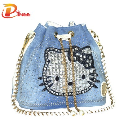 Rhinestone Handbags Designer Denim Handbags Women Bag Famous Brand Handbags Denim Rhinestones Shoulder Bags Tassel Drawstring Bucket Bag