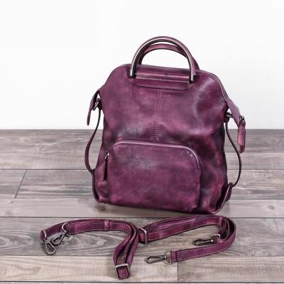 Real Cowhide Genuine Leather Backpack Womens Bag Vintage Designer Girls Travel School Bags Famous Brand Female Laptop Rucksack