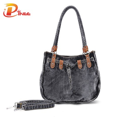 Vintage Denim Shoulder Handbags Original Design 2017 Women Denim Messenger Bag Vintage Top-Handle Bag with Rivet Soft Denim Handbag for Shoulder Bag