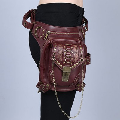 2017 New Top Quality PU Leather Chain Unisex Waist Fanny Leg Drop Bag Punk Rock Hip-hop Motorcycle Ride Messenger Shoulder Pack