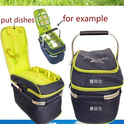 Trackman Camping Outdoor Picnic Basket Portable Folding Large Picnic Bag Basket Food Storage Bags Picnic Handbags Lunch Box