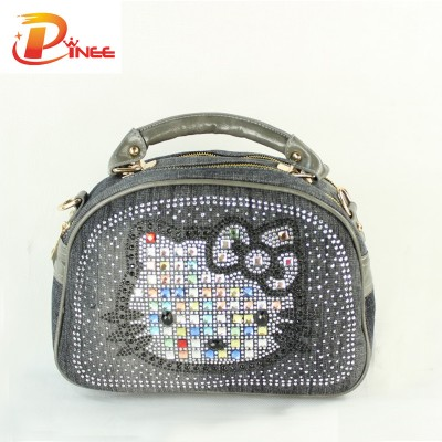 Rhinestone Handbags Designer Denim Handbags Women Bag 2017 Fashion Denim Handbags Female Jeans Shoulder Bags Cat Cartoon Design Womens Tote Bag
