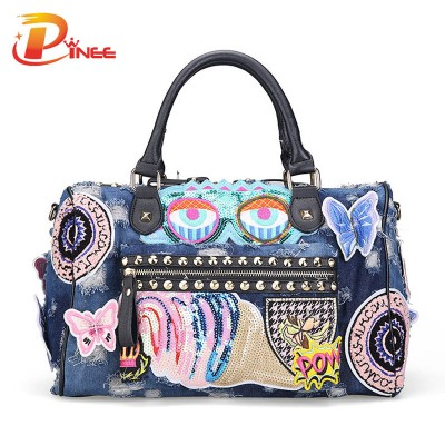 Vintage Denim Shoulder Handbags New 2017 Women Luggage Travel Bags Cute Cartoon Daypack Denim Bags Handbags Fashion Shoulder Bag Female