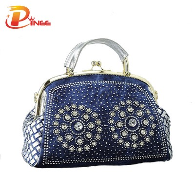 Rhinestone Handbags Designer Denim Handbags fashion denim women handbags designer weaving tote bag crystal diamond decorative big bags