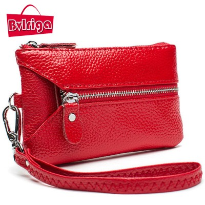 BVLRIGA Genuine leather wallet women wallets key bag holder high quality Clutch bag dollar price purses with zipper famous brand