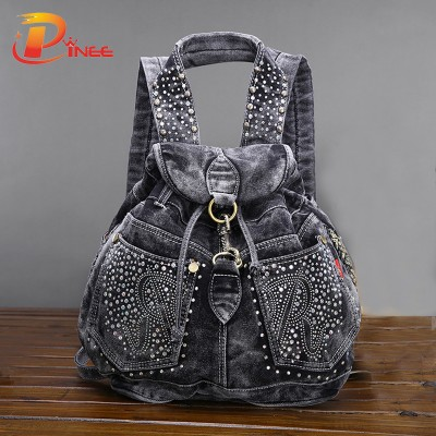 American apparel denim Backpacks Women's Shoulder Bag Vintage Causal Travel Bags black blue denim backpack