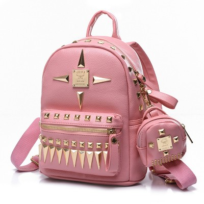 Mini backpack girls pink backpack rivet design woman travel bag schoolbags for girl luxury brand woman backpack