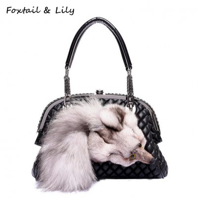 Foxtail Lily Genuine Fox Fur Bag for Women Quilted Chain Bag Real Leather Sheepskin Shoulder Crossbody Handbags