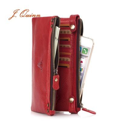 J.Quinn Women's Wallets Genuine Zipper Women Leather Wallet Calfskin Female Red Purse Luxury Brand Long Cow Ladies Purses Bifold
