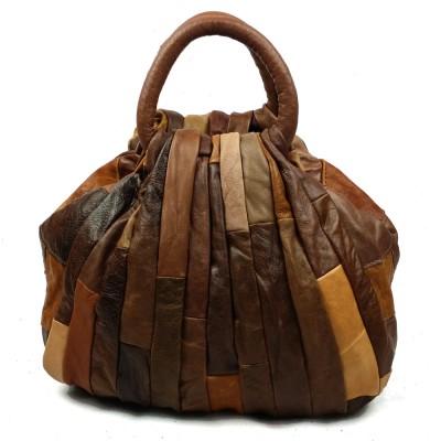 Hot Luxury Vintage Patchwork 100% Genuine Leather Tote Bag Women Shell Bags Top-Handle Bag Women Leather Handbag Tote Brown