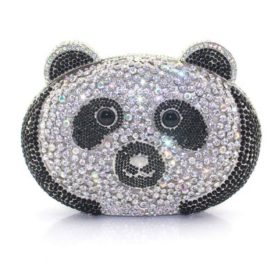 Lovely Bear Head Shaped Hard Case Ladies Evening Crystal Clutch Bag