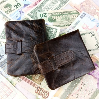 Real Genuine Leather Mens Card Holder Wallets Man Cowhide with coin Purse Brand Male Credit&Id Car Short Clutch Wallet