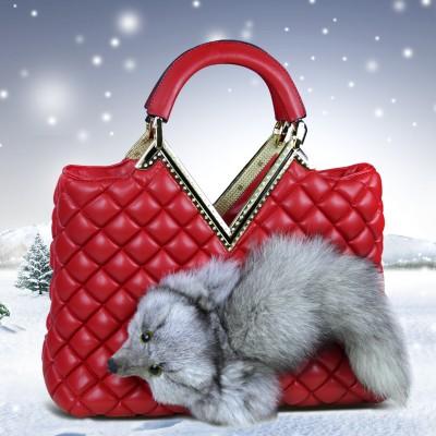 Ladies Handbag Luxury Plush Fox Shape Shoulder Bag Zipper Bag Women Shopping Bag Purse Messenger Bag