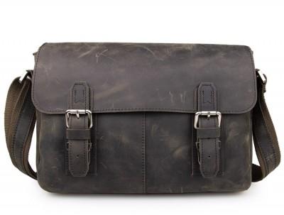 High Quality Vintage Crazy Horse Leather Men's Messenger Bag Cross body Sling Bag