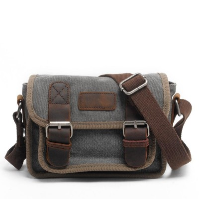 Mens Vintage Canvas Leather Khaki Navy School Military Shoulder Bag Flap fashion leisure messenger bag men Mens Crossbody Bags