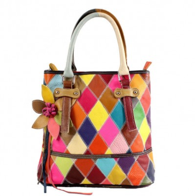 Designer tote bag for ladies high quality trendy genuine leather weaved plaid bags with strap fringe style multi colored handbag