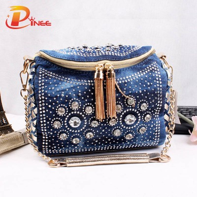 Rhinestone Handbags Designer Denim Handbags Fashion Blue Denim Jean Bags Bling Fashion Small Bag with Tassel Shoulder Bag with Rhinestone Lady Denim Women Handbags