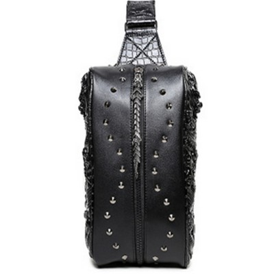 Gothic Backpacks Steelsir New Style Punk Men Personality 3 Color Chest Bag Fashion Gothic Brand Unique Messenger 3D Tide Shoulder Bags Hot Sale