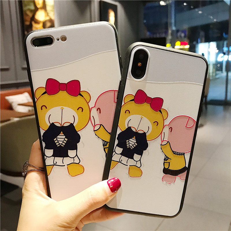 Cut Cartoon Phone Case For iphone X 6 6s 6plus 7 7plus 8 8plus Back Cover Cases Bear Personalised Designer Iphone Phone Cases