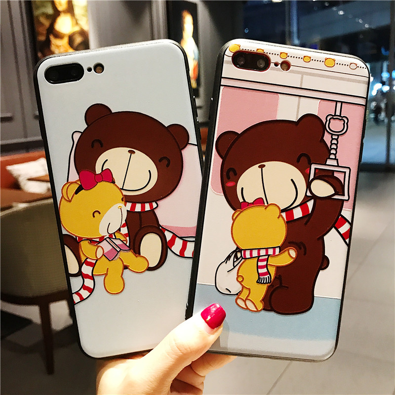 Cut Cartoon Phone Case For iphone X 6 6s 6plus 7 7plus 8 8plus Back Cover Cases Bear Cool Designer Iphone Phone Cases