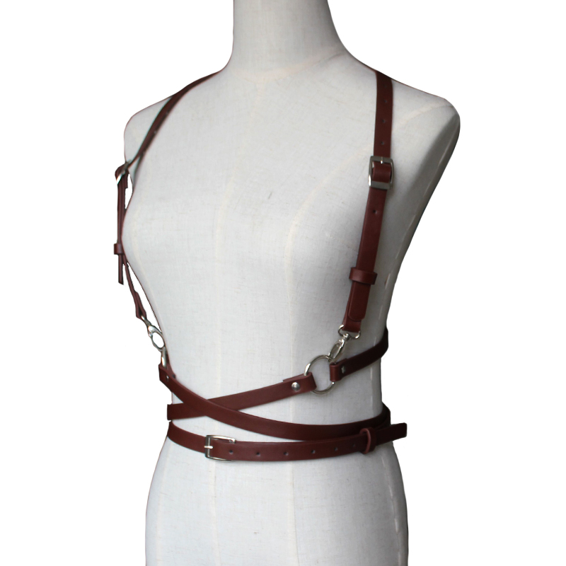 New Sexy Women Men Leather Suspender Belt Black Brown Garter Belt and Corset Slim Body Bondage Cage Sculpting Punk Harness Waist Straps Suspenders Belt for Women Garter Belt Outfit Cheap