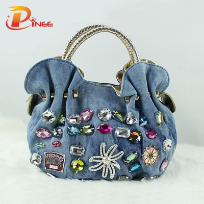 Rhinestone Handbags Designer Denim Handbags New Women Denim Bags Sweet Blue Pattern High Quality Handbags With Diamond Ladies Tote Bag Messenger Bags