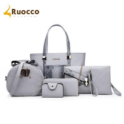 206 New Composite Bags Women Shoulder Handbag Crossbody Messenger Bags 6 PiecesSet Serpentine Print PU women bag for sale