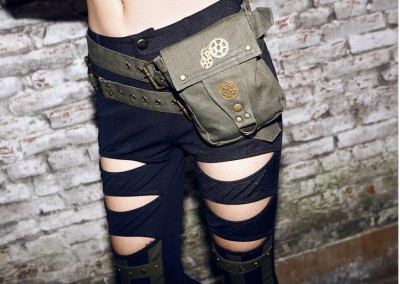 Personality KhakiGreen Denim Steampunk Waist Packs Cool Female Steam Punk Belt Waist Bag