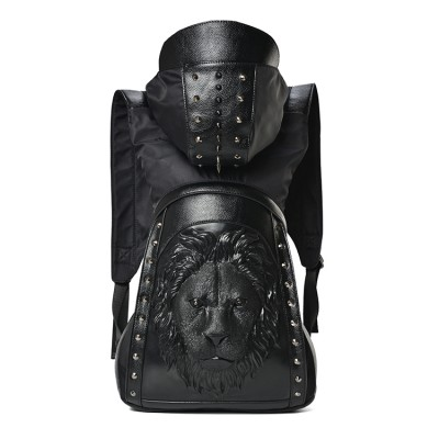 2017 Trend Rock Backpack Steampunk Bag Personality 3D Skull PU Leather Rivets w Hood Cap Apparel Hiphop Men Bag Skeleton Purse