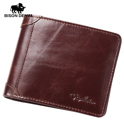BISON DENIM High Quality Red Brown leather genuine wallet men purse card holder Brand men wallets dollar price Christmas Gifts