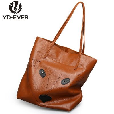 2017 new 100% genuine leather women handbags fox shoulder bag big tote brand famous cowhide High quality shopping bag