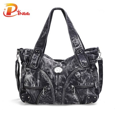 Vintage Denim Shoulder Handbags 2017 fashion women bag denim casual lady shoulder bags designer handbags denim jean bags