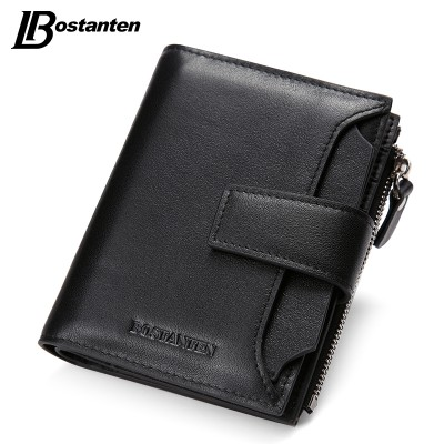 Bostanten New Black Genuine Leather Men Wallets Small Famous Brand Wallet Male Designer Mens Purse Credit Card Coin Wallet Short