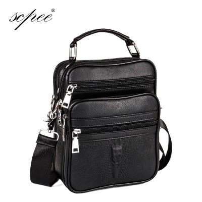 Crocodile Head 100% Genuine Leather Men's Business Casual Leather Briefcases Shoulder Bag Pouch Small Handbag