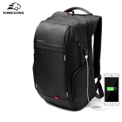 Kingsons Brand External USB Charge Computer Bag Anti-theft Notebook Backpack 15.6 inch Waterproof Laptop Backpack for Men Women