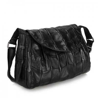 Fashion Soft Sheepskin Large Flap Genuine Leather Women Black Solid Cover Designer Handbag Cross-body Shoulder Messenger Bag