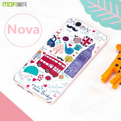 Nova case MOFi original huawei nova case cover back case Bohemia tower city landscape painting TPU soft 3D relief pattern flower Phone Cases For huawei