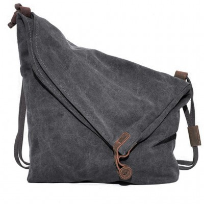 Canvas Women Messenger Bag Casual Men Handbag crazy horse Leather Vintage Women's Shoulder Bags Travel sac a main femme