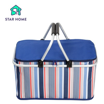 New 1pc multi colors option Storage basket Aluminum Frame Folding Picnic Baskets Foldable Shopping cooler basket