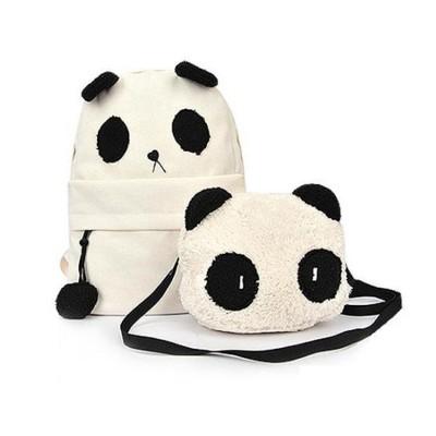 100pcs/lot Fashion Girls Cute Backpack Women Panda Style Schoolbag Shoulder Book Bag Set