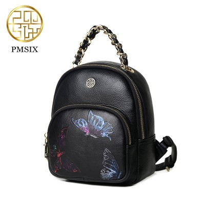 2017 New Chinese style summer new fashion casual leather shoulder butterfly style mini backpack shoulder bag