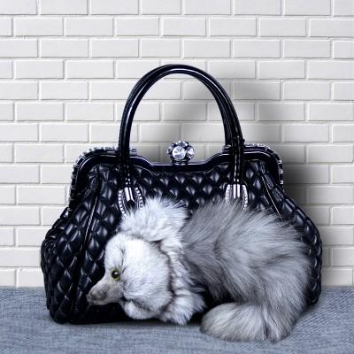 High quality leather new fashion ladies handbag luxurious plush fox shoulder bag zipper bag women shopping bag purse messenger b