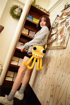 Funny personality lovely yellow octopus waterproof bags handmade canvas shoulder Messenger bags round bucket