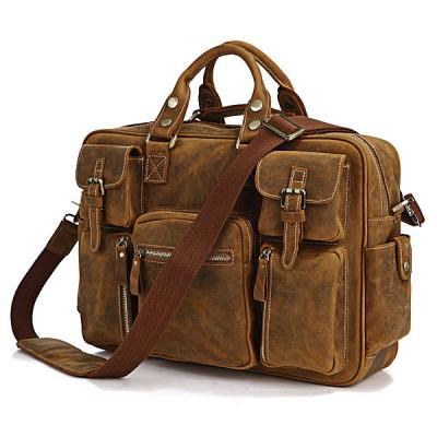 2017 Rushed Direct Selling Crazy Horse Men Leather Handbag Large Capacity Male Bags Mens Briefcase Shoulder Belt Travel Bag