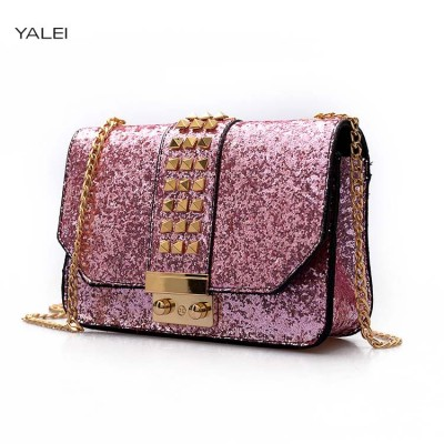 Sexy Bags YALEI  New luxury women colorful handbags ladies sparkling sexy chain flap bags female mini Rivets shoulder messenger bags
